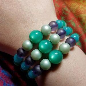 Vintage moonglow Thermoset bracelet green purple
